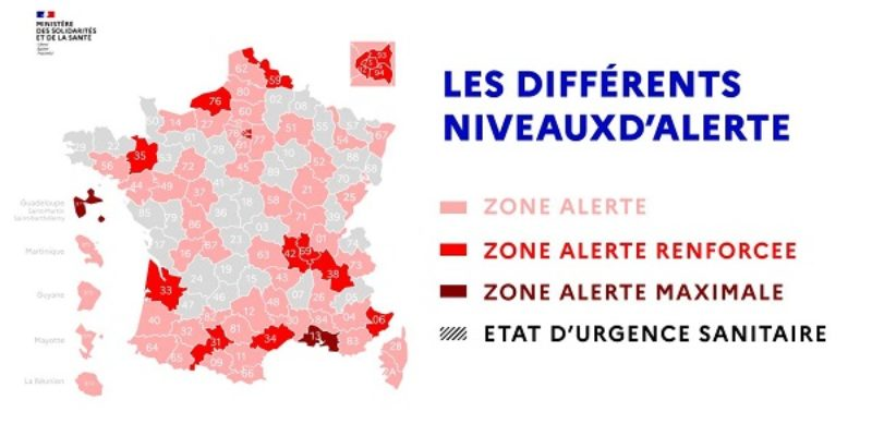 COVID-19 : Le Puy-de-Dôme passe en Zone d'alerte renforcée (circulation très intense du virus)